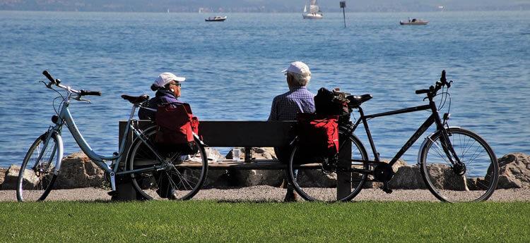 Seniors bike riding