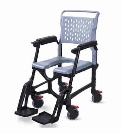 Bathmobile folding commode and shower wheelchair