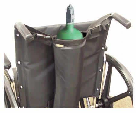 Wheelchair single oxygen bag holder